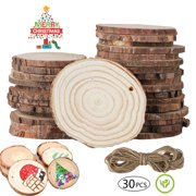 """EEEKit 30Pcs Natural Wood Slices - 2.4""""-2.8"""" Craft Unfinished Log Wooden Circles Predrilled with Hole Wooden Kit for Arts Wood Slices Christmas Ornaments DIY Crafts Home Holiday Wedding Party Décor"""