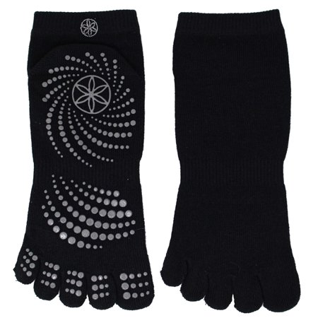 Gaiam All Grip Yoga Socks - Medium/Large - Black/Grey