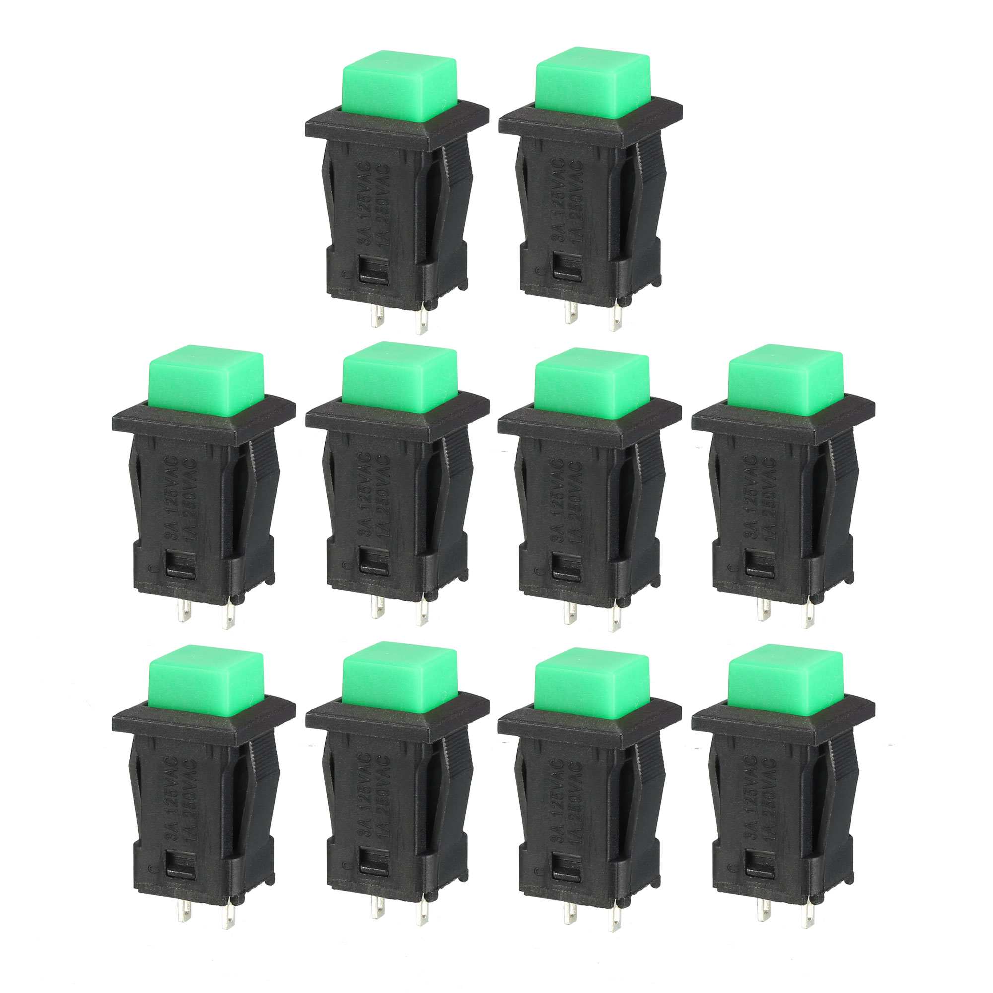 12mm Mounting Hole Green Square Latching Push Button Switch SPST NO 10pcs - image 4 of 4