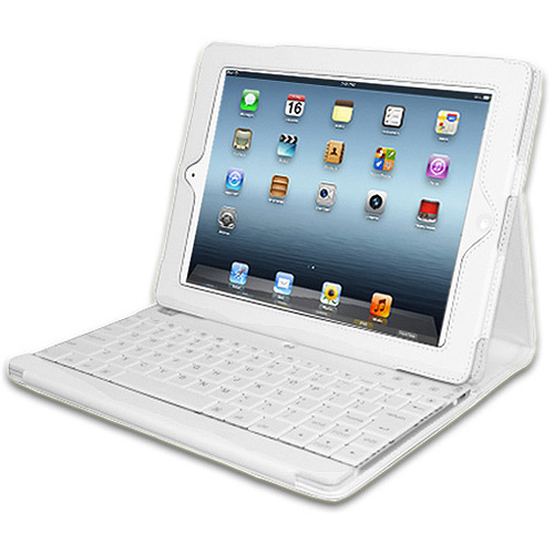 Adesso Compagno 3 Bluetooth Scissor-Switch Keyboard with Carrying Case for Apple iPad, White