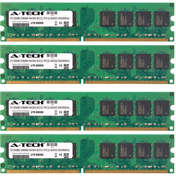 2GB Kit 4x 512MB Modules PC2-6400 800MHz NON-ECC DDR2 DIMM Desktop 240-pin Memory Ram