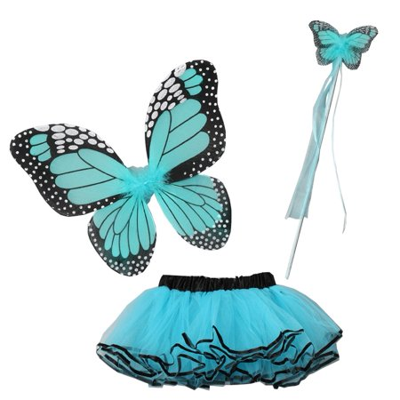 Little Girls Multiple Colors Butterfly Wings Wand Halloween Tutu 3 Pcs Set 2-4T