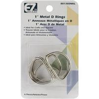 "EZ D Ring 1"" Nickel 6pc"