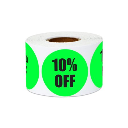 "1.5"" Round 10% OFF Stickers Labels for Retail Pricing, Sales or Discounts (4 Rolls / Green)"