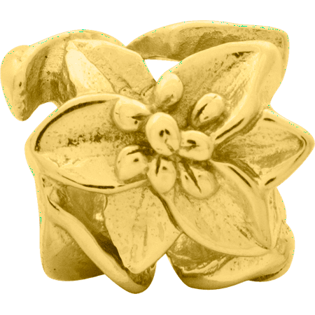 925 Sterling Silver Gold Plated Charm For Bracelet Plumeria Floral Bead Fine Jewelry Gifts For Women For Her - image 7 de 8