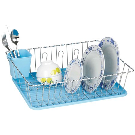 The Kitchen Sense Chrome Finish Twist Wire Large Dish Dryer Rack with Drain Tray
