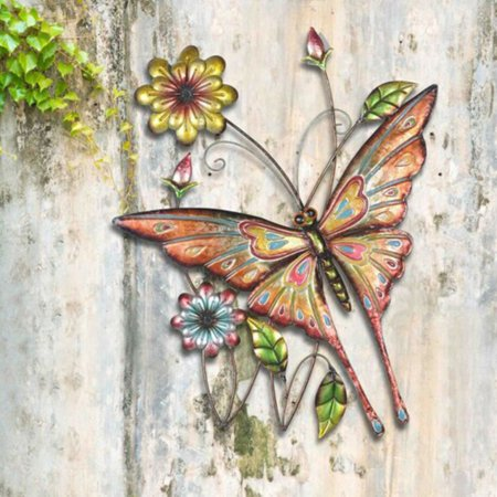Sunjoy 110311005 Butterfly And Flowers 30 75 Hand Painted Iron Outdoor Wall Decor
