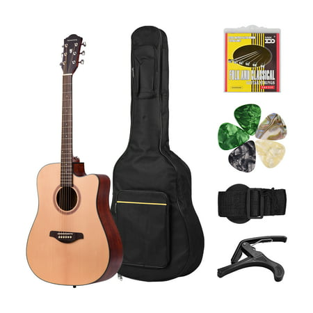 41inch Cutaway Acoustic Folk Guitar Spruce Wood Top Panel Mahogany Wood Backside Panel with Strap Bag Capo Picks Strings - image 5 of 7