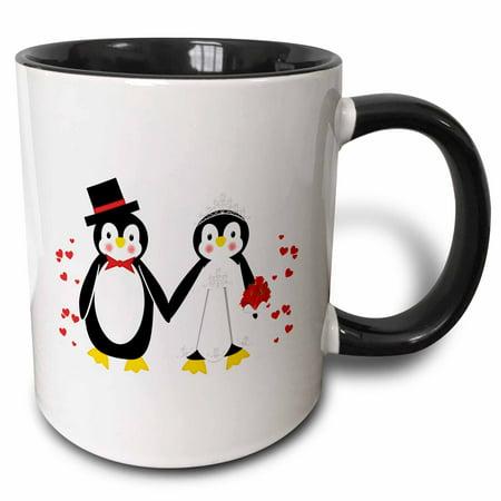 3dRose Cute Red Hearts Penguin Bride and Groom Wedding Couple - Two Tone Black Mug, 11-ounce