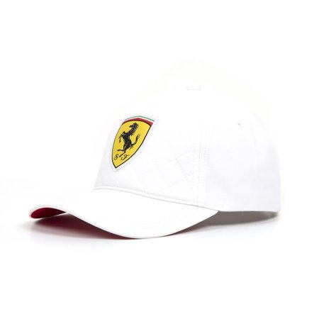 Ferrari White Quilt Stitch Shield Hat
