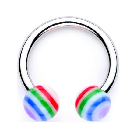 Body Candy 14G 316L Steel Horseshoe Circular Barbell Rainbow Nose Hoop Cartilage Earring Septum (Circular Horseshoe Rings)