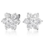 Collette Z Sterling Silver Round-cut Cubic Zirconia Flower Stud Earrings