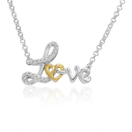 Amanda Rose Collection Diamond Heart in Love Pendant in Sterling Silver with 14k Gold, 0.1 - Ananda Collection