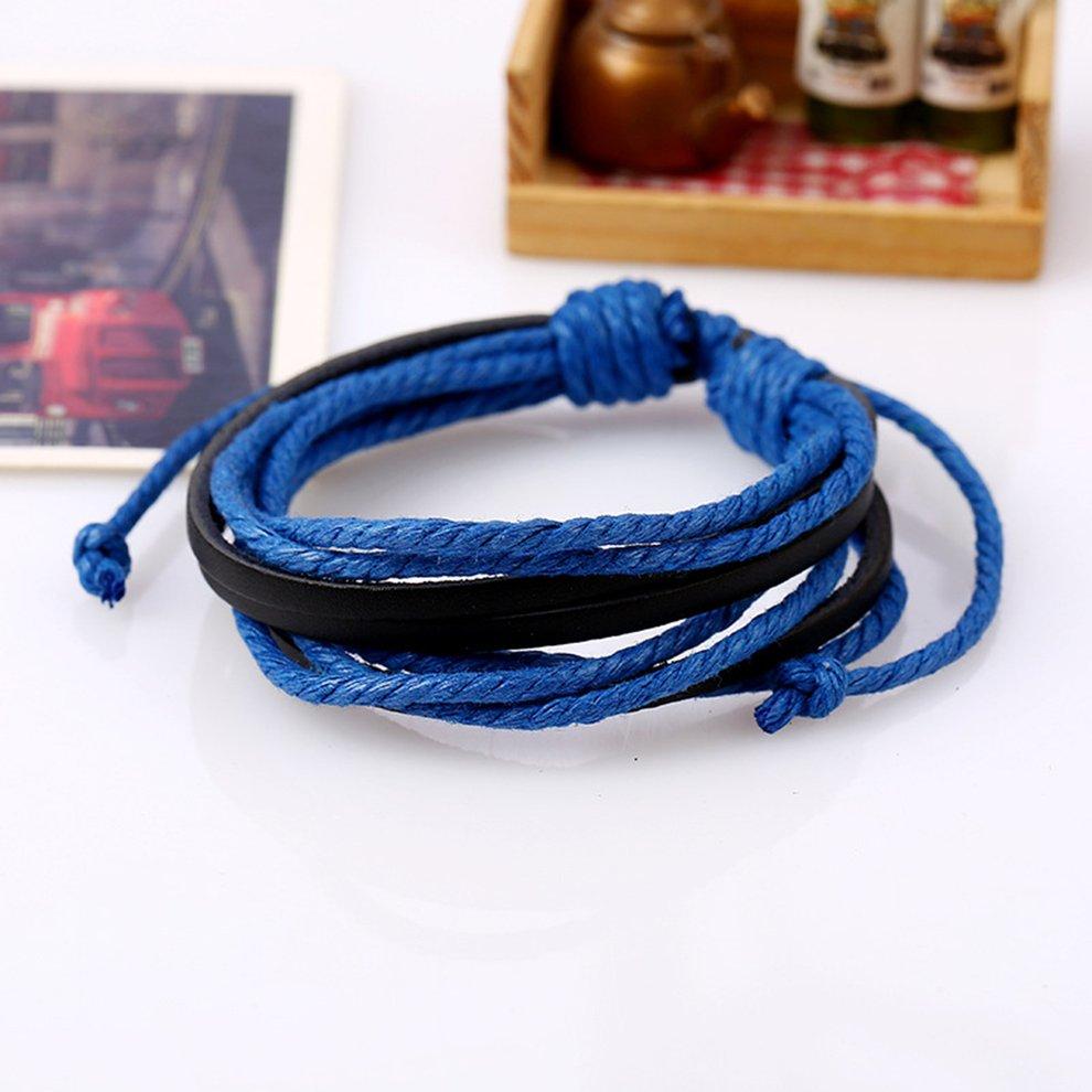 cactus charm Black faux leather plaited cord bracelet