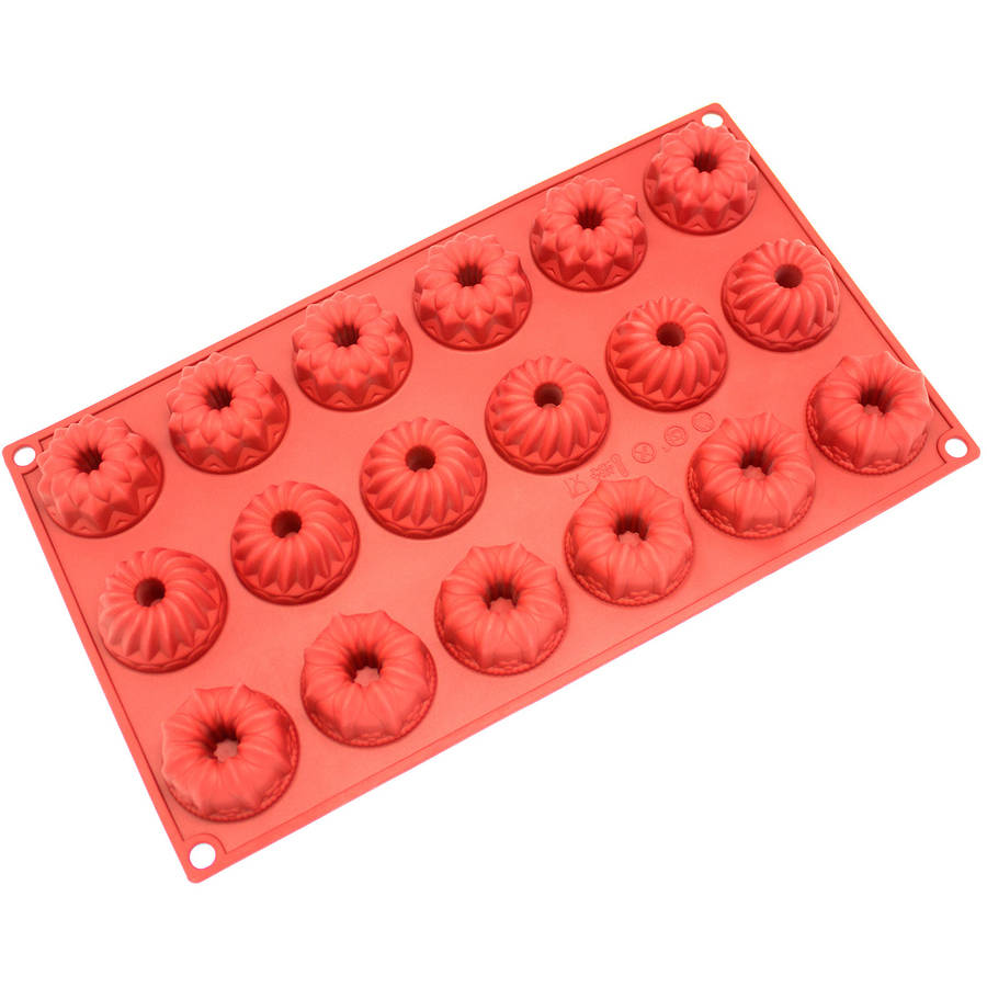 Freshware 18-Cavity Mini Fancy Bundt Cake Silicone Mold for Chocolate, Candy and Gummy Mold, SM-119RD