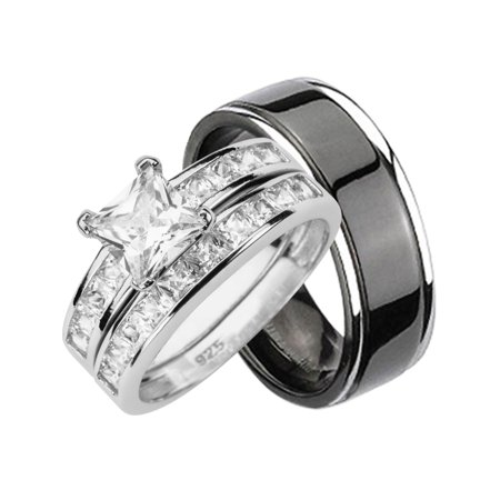 His Hers CZ Wedding Ring Set Sterling Silver Black Titanium Bands for Him Her (8/11) ()