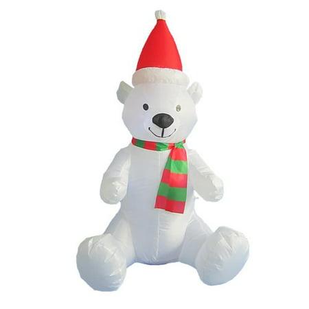 4 foot tall lighted christmas inflatable polar bear with hat led yard art decoration - Polar Bear Inflatable Christmas Decorations