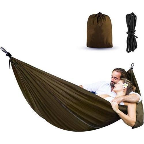 MWGEARS X28-Olive Portable Double Hammocks Ultralight Nylon Parachute Hammock for Light Travel Backpacking Camping, Ropes & Steel Carabiners Included