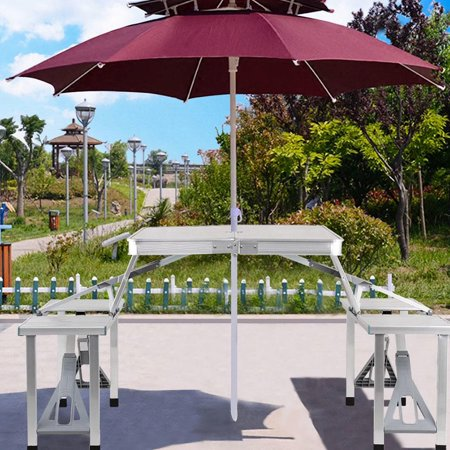 Moustache Aluminum Foldable Picnic Table with 4 Seats - image 5 of 9