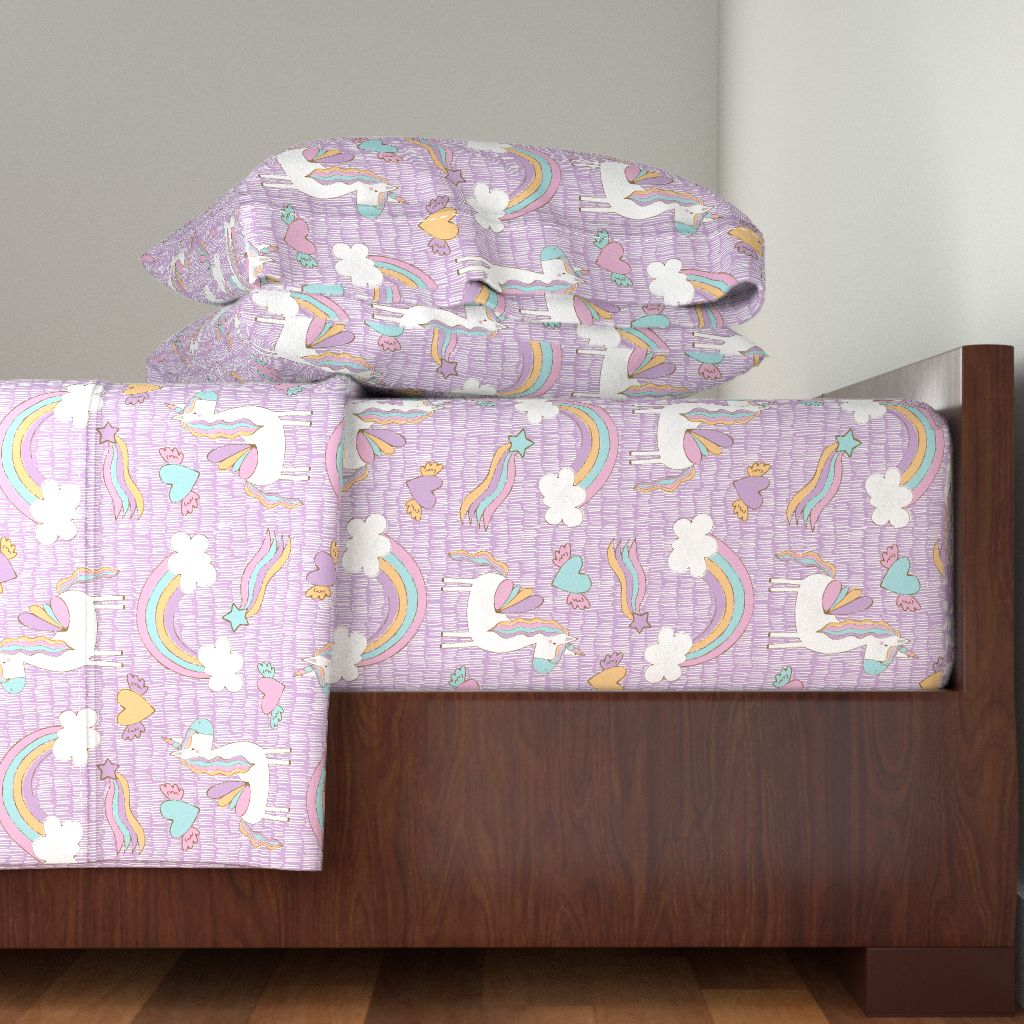 Unicorns Unicorn Unicorns And Rainbow 100% Cotton Sateen Sheet Set by Roostery