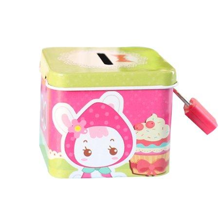 Cartoon Cute Square Tin Metal Piggy Bank Saving Cash Coin Money Box Children Toy Kids Gifts Random Color (My First Piggy Bank Pink)