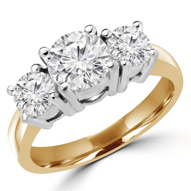 Majesty Diamonds MD170091-5.25 1.1 CTW Round Diamond Three-Stone Engagement Ring in 14K Yellow Gold - Size 5.25