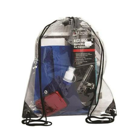 Clear Drawstring Bags (Debco P8622 Stadium Clear Drawstring Bag - Clear / Black  - 12)