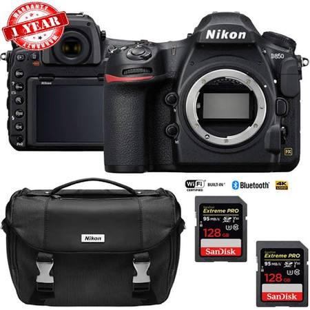 Nikon D850 45.7MP Full:Frame FX DSLR Camera (Body) with Dual 128GB Pro Memory Cards