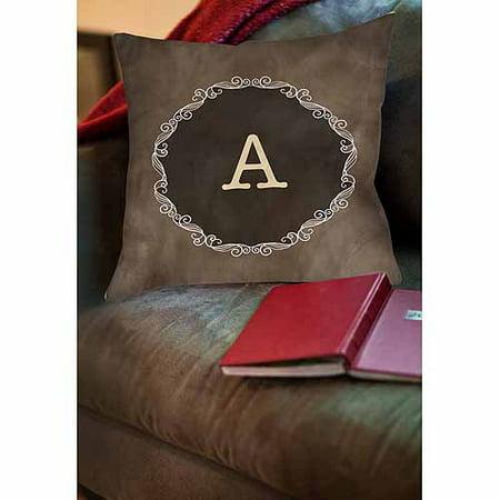 Thumbprintz Chalkboard Scroll Monogram Neutral Decorative Pillows - Monogramed Pillows