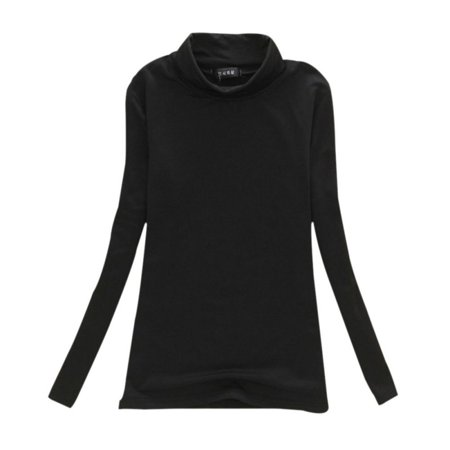 Womens Long Sleeve Mock Turtleneck Crew Stretch Slim T Shirt Layer Top