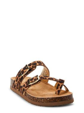 Wonder Nation Lucky Leopard Footbed Slide Sandal (Little Girls & Big Girls)
