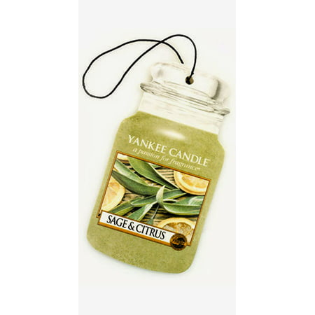 Yankee Candle Car Jar Air Freshener Fragrance-Infused Paperboard, Sage &