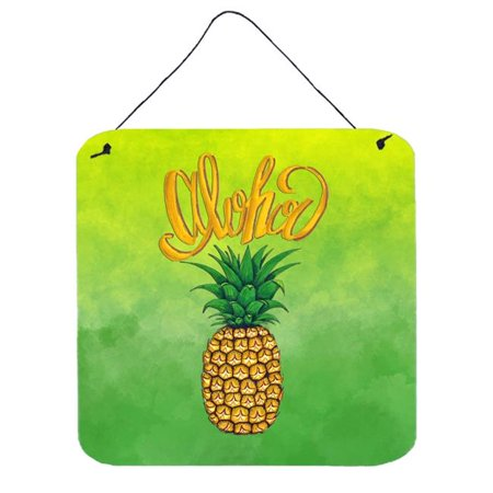 Carolines Treasures BB7451DS66 Aloha Pineapple Welcome Wall or Door Hanging Prints Pineapple Welcome Address Plaque