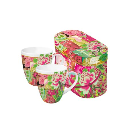 Set of 2 Shinto Garden Floral Porcelain Coffee Mugs with Gift Box - 14 ounces Floral Porcelain Box