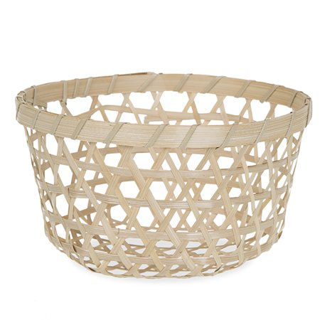 Round Open Weave Bamboo Basket - Natural ()