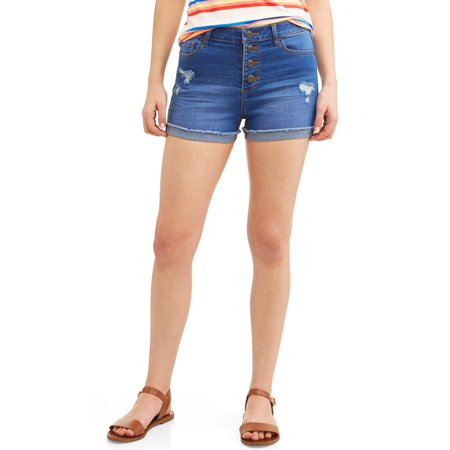 - Juniors' High Rise Sculpting Denim Shorts