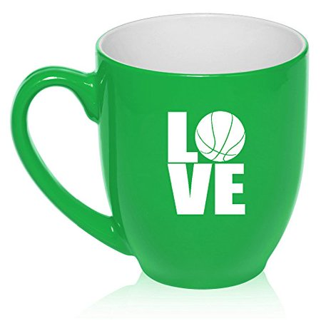16 oz Large Bistro Mug Ceramic Coffee Tea Glass Cup Love Basketball (Green) Basket Large Mug