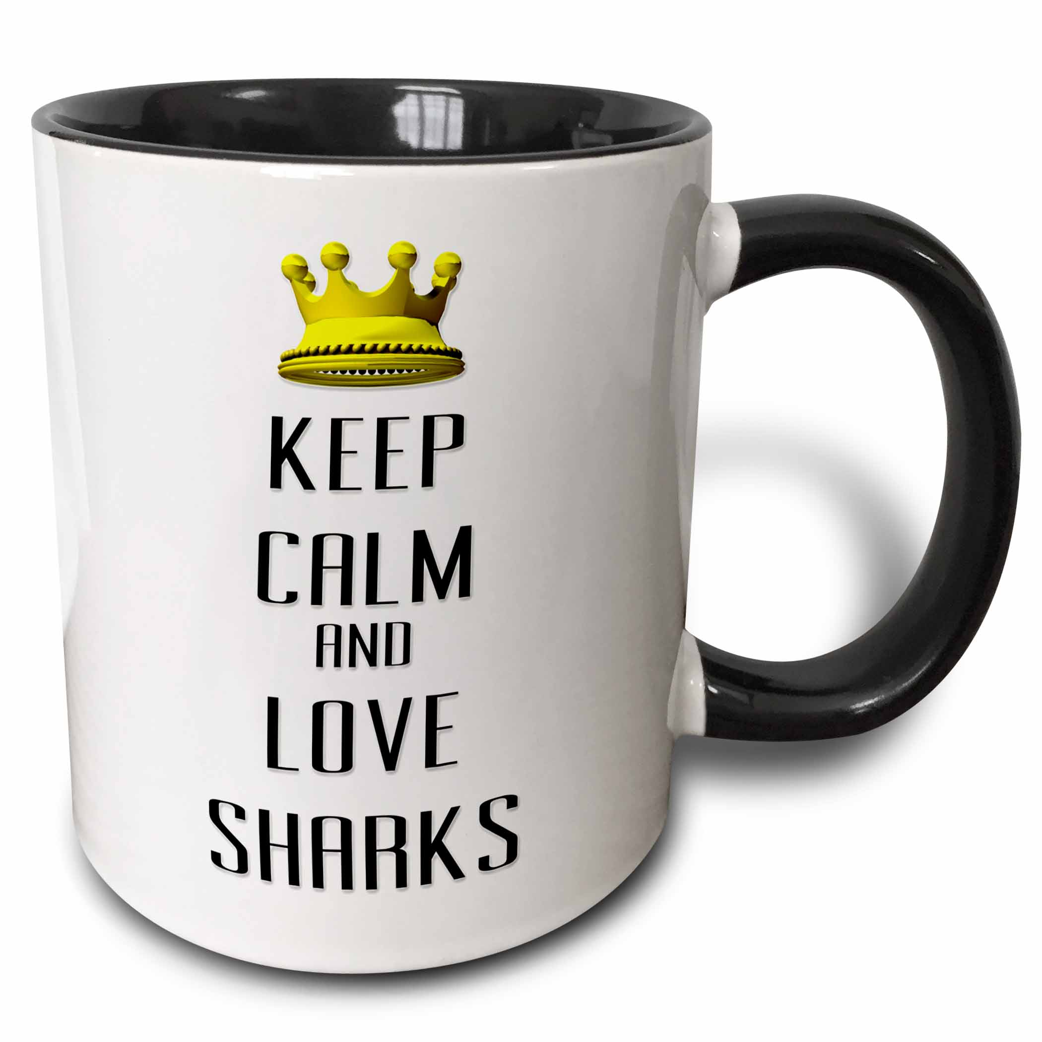 3dRose Gold Crown Keep Calm And Love Sharks - Two Tone Black Mug, 11-ounce