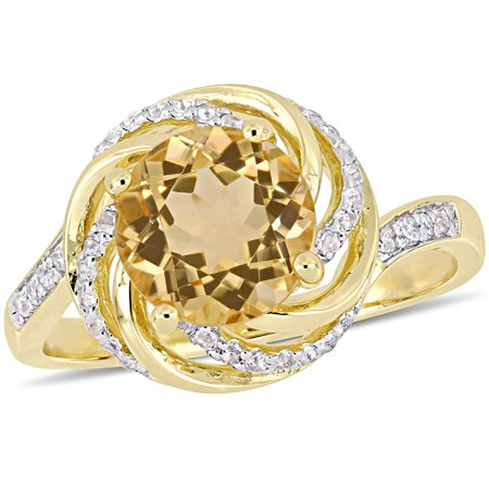 1-7/8 Carat T.G.W. Citrine, White Topaz and Diamond-Accent Yellow-Plated Sterling Silver Swirl - Ring Eraser