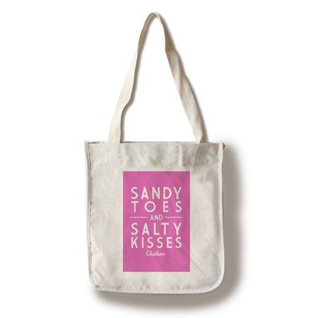 Chatham, Massachusetts - Sandy Toes & Salty Kisses - Pink - Simply Said - Lantern Press Artwork (100% Cotton Tote Bag - Reusable)