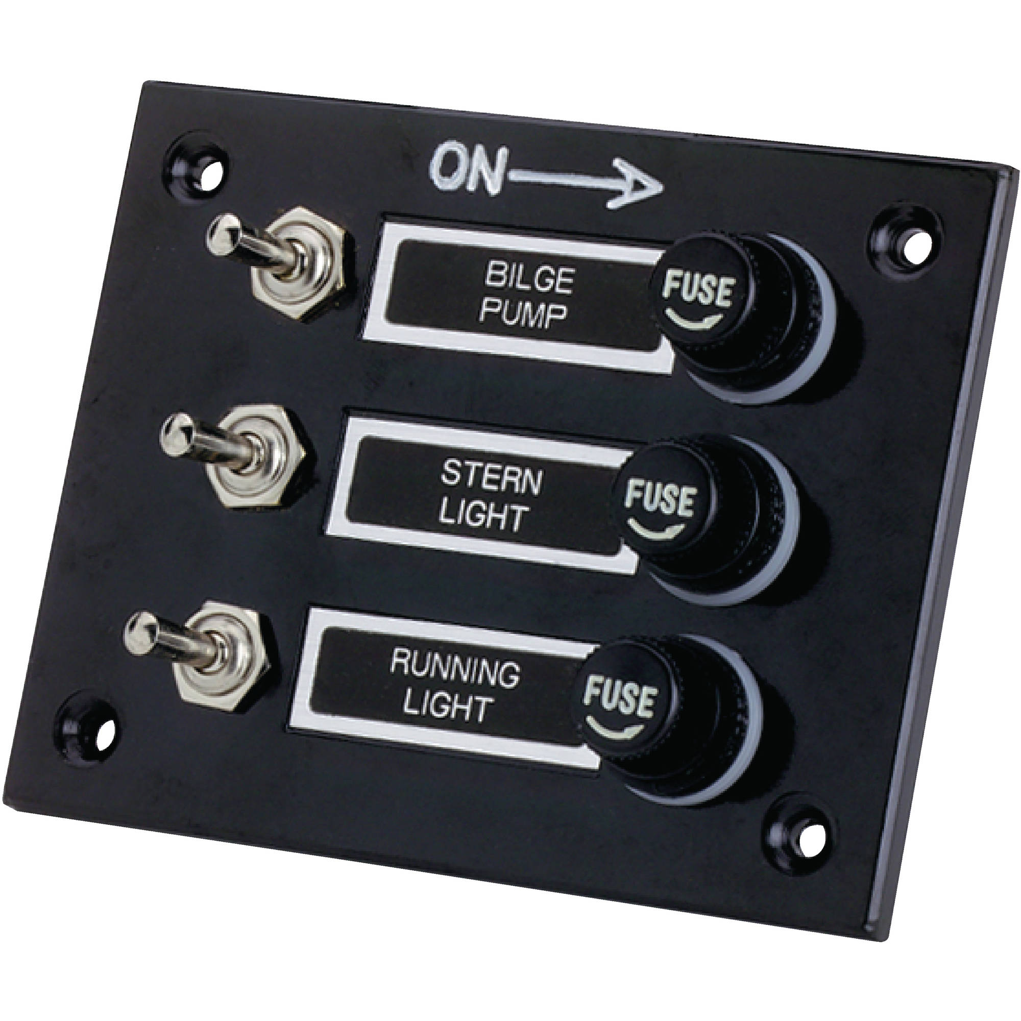 Attwood 3 Gang Toggle Switch Panel with Fuses
