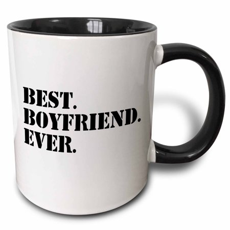 3dRose Best Boyfriend Ever - fun romantic love and dating gifts for him - for anniversary or Valentines day, Two Tone Black Mug,