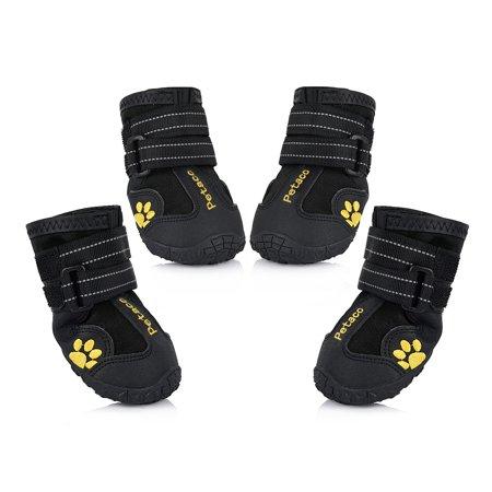 Petacc Dog Shoes Water Resistant Pet Boots Dogs Paw Protectors Four Pieces Black Dog Pet Sports Shoes