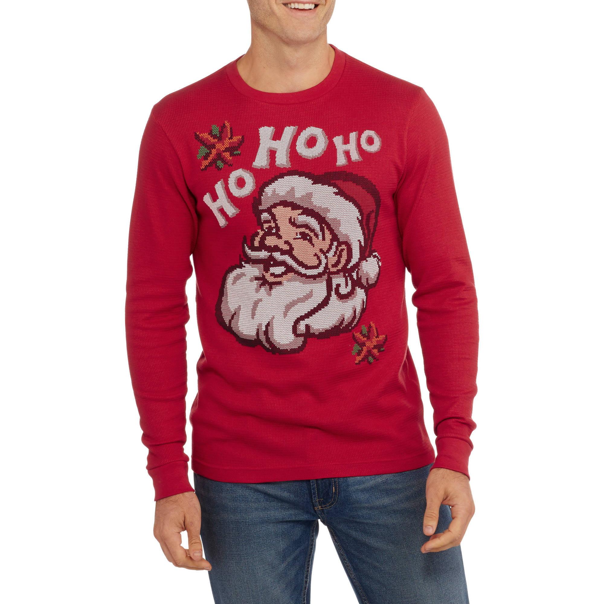 Santa Big Men's Ho Ho Ho Graphic Christmas Thermal, 2XL