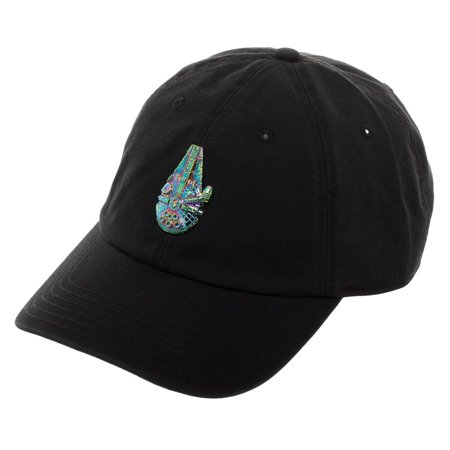 All Star Embroidered Cap - Disney Star Wars Millennium Falcon Dad Cap, Black Hat with Embroidered Spacecraft of Han Solo, Movie Spaceship Design