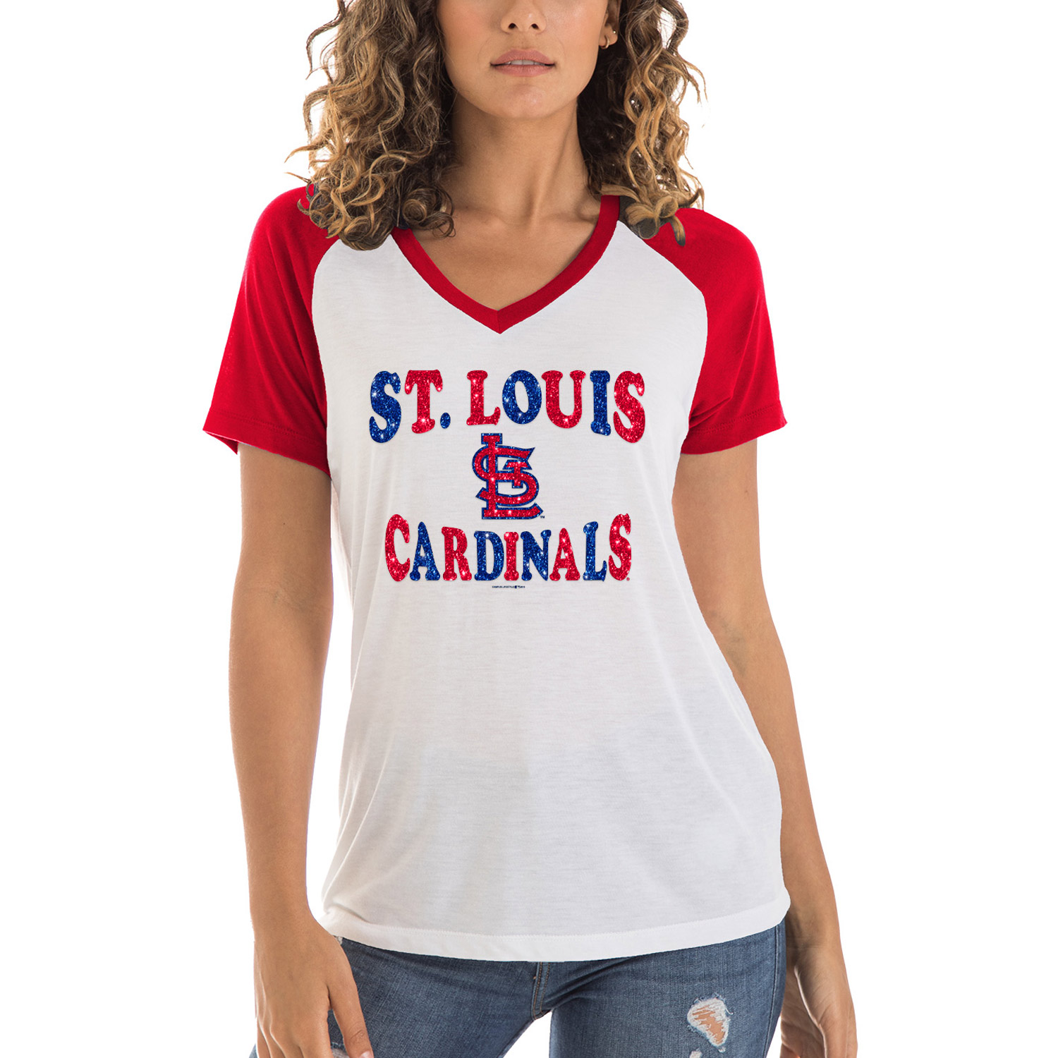 Women's 5th & Ocean by New Era White St. Louis Cardinals Raglan V-Neck Jersey T-Shirt