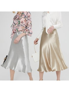 Multitrust Women's Satin Trumpet High Waist Skirt Silver Gold Long Skirt Metallic Color Party Skirt