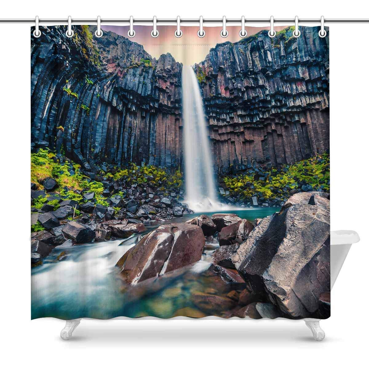 Gckg Dramatic Morning Natural View Shower Curtain Black Waterfall Polyester Fabric Shower Curtain Bathroom Sets 66x72 Inches
