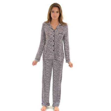 Womens Sleep Wear Leopard Print Pajamas Button Down Top Pj Pants ...