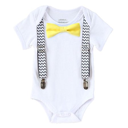 Noah's Boytique Boys Cake Smash Outfit First Birthday Grey Chevron Suspenders Yellow Bow Tie 12-18 - Yellow Bow Tie And Suspenders